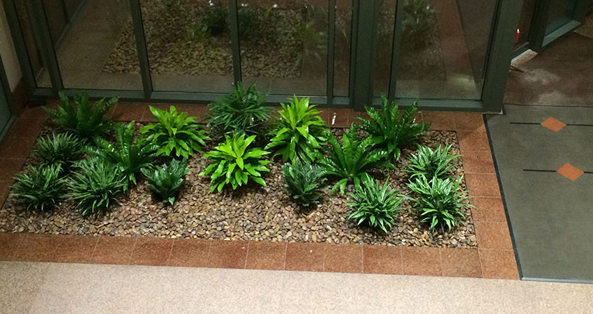 An image of a completed flower bed in a corporate lobby