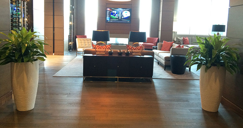 An image of planters in a residential lobby